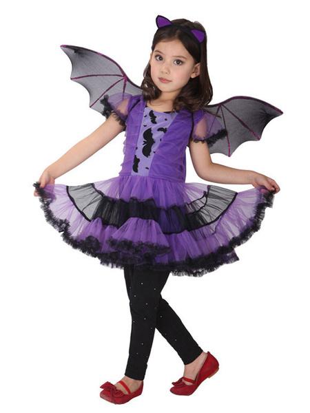 Milanoo Halloween Bat Costume Kids Purple Dresses Outfit 3 Piece
