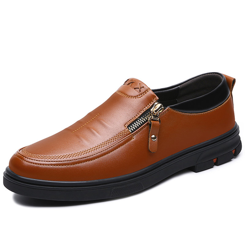 Men Non Slip Side Zippers Soft Sole Casual Leather Shoes