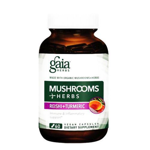 Mushrooms + Herbs Reishi+Turmeric 60 Caps by Gaia Herbs