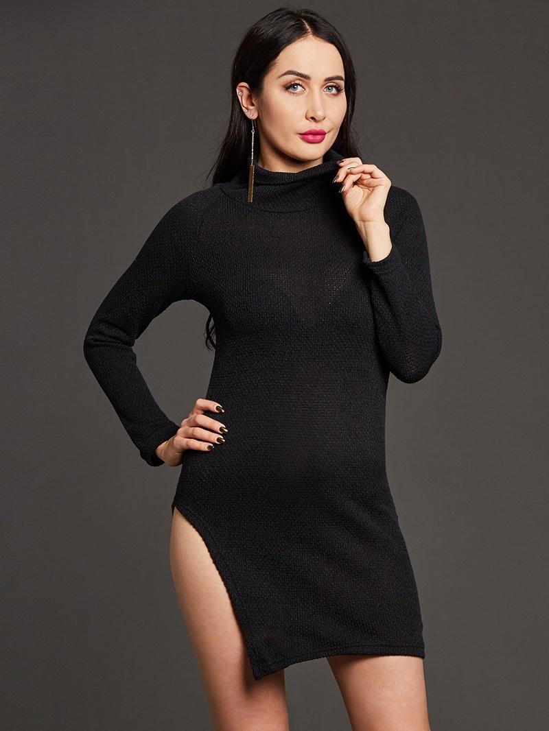Ericdress Plain High Neck Thread Long Sleeve Sweater Dress
