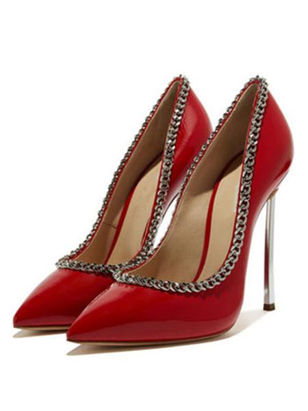 Milanoo Women's Black High Heels Basic Pumps Slip-On Pointed Toe Stiletto Heel Plus Size Shoes