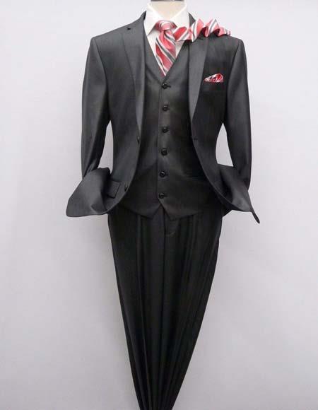 Mens Charcoal Gray 3 Piece Suit Vested Semi Shiny Sharkskin