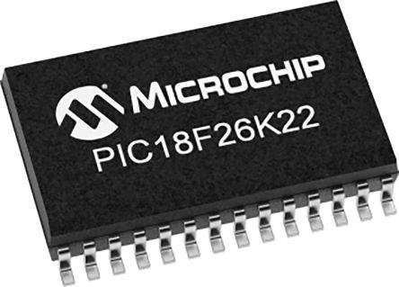 Microchip PIC18F26K22T-I/ML, 8bit PIC Microcontroller, PIC18F, 64MHz, 64 kB Flash, 28-Pin QFN (1600)