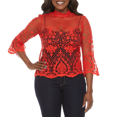 Bold Elements Womens High Neck 3/4 Sleeve Crochet Blouse, Large , Red