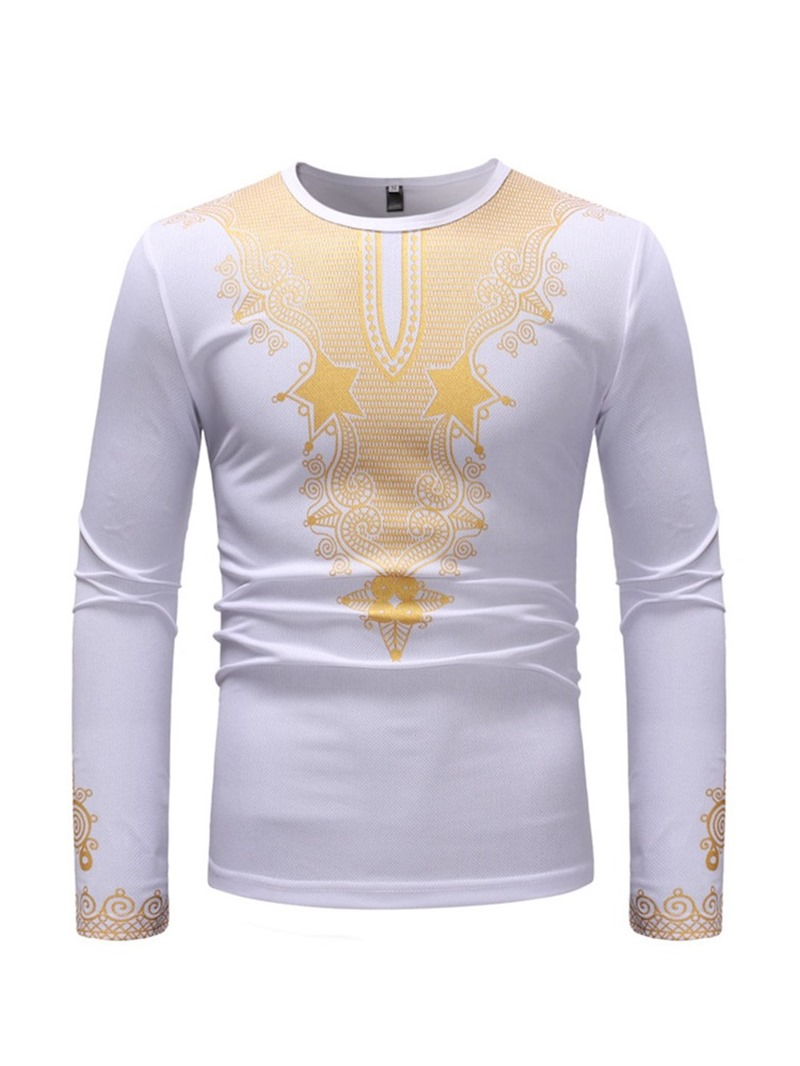 Ericdress African Dashiki Print Round Neck Long Sleeve Mens T-shirt