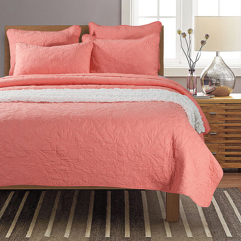 Cotton Three-piece Bedding American Embroidery Quilt Was Washed Bed Cover