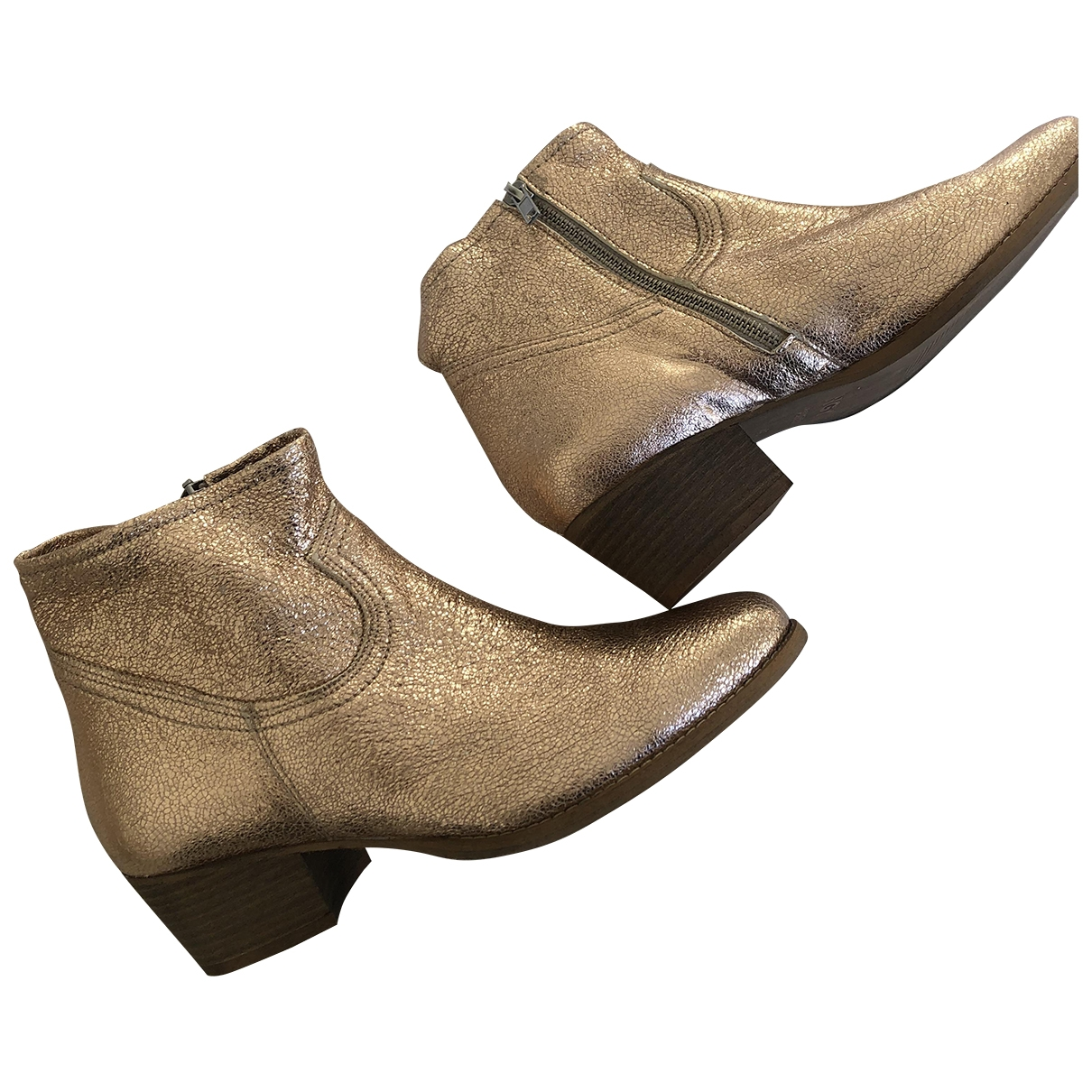 Non Signé / Unsigned \N Gold Leather Ankle boots for Women 40 EU