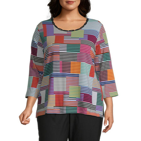 Alfred Dunner Plus Classics-Womens Round Neck 3/4 Sleeve T-Shirt, 2x , Pink