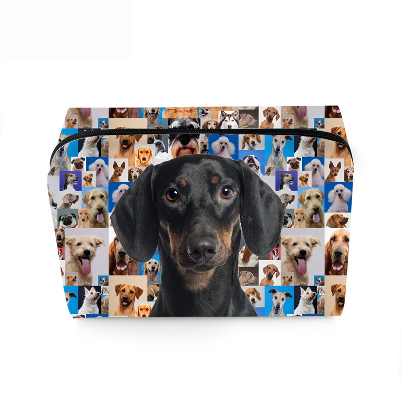 3D Portable Black Hound Printed PV Cosmetic Bag