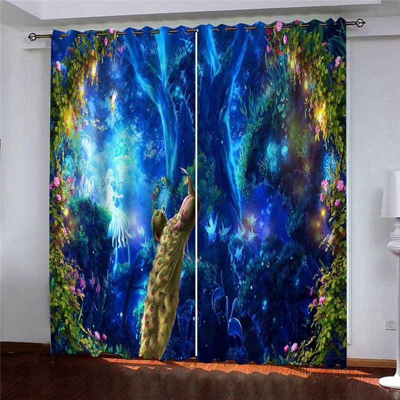 Fantastic 3D Peacock Print Blackout Curtains No Pilling No Fading No off-lining Polyester Curtains
