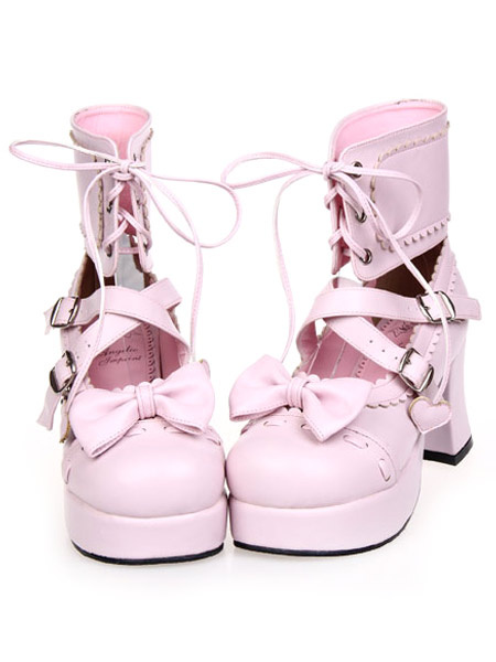 Milanoo Lace-Up Bow Pink PU Leather Platform Round Toe Lolita Shoes