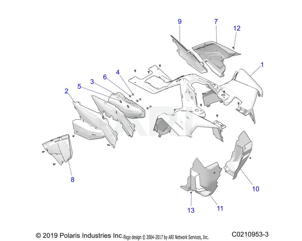 Polaris OEM 5455521-070 GUARD-MUD, FRONT, LH, BLK