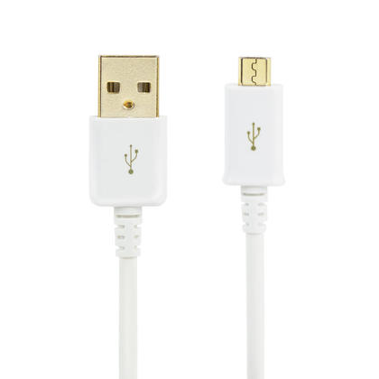 Premium USB 2.0 to Micro USB Charge & Sync 28/24AWG Cable, 10ft - White - PrimeCables®