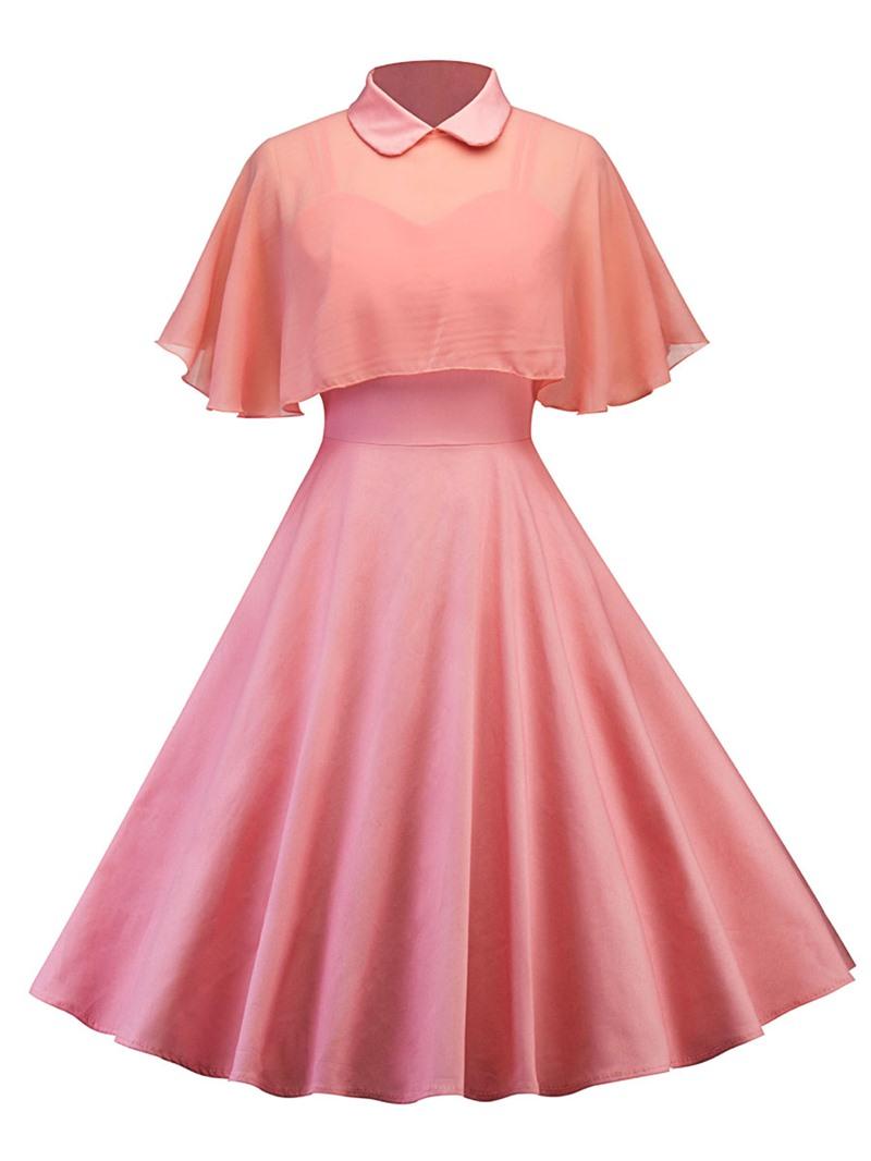 Ericdress Peter Pan Collar Cape and Dress Women's Two Piece Set