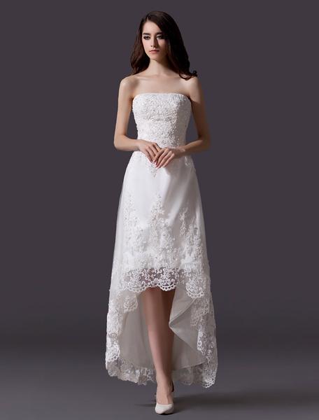 Milanoo Strapless Hi-Lo Lace Wedding Dress