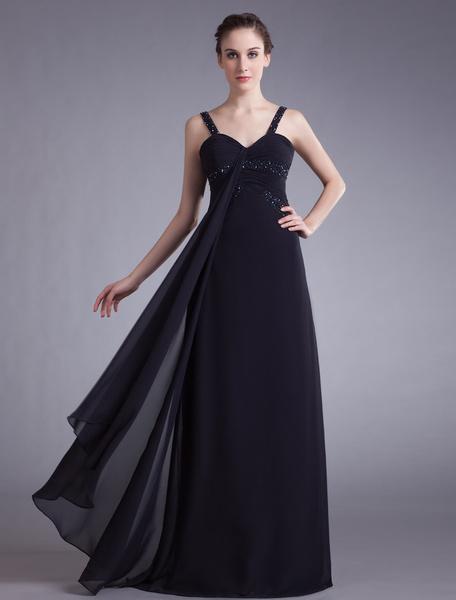 Milanoo Black Prom Dress A Line Sweetheart Sleeveless Straps Beaded Formaldinner Gown Wedding Dresses