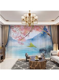 3D Chinese Style High-Quality Polyester Decorative Sheer with Landscape Bird and Flower Images
