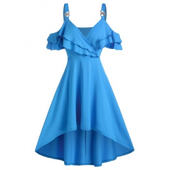 High Low Cold Shoulder Wrap Dress