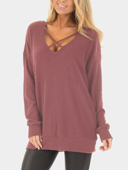 Yoins Crossed Front Design V-neck Long Sleeves T-shirt in Wine Red