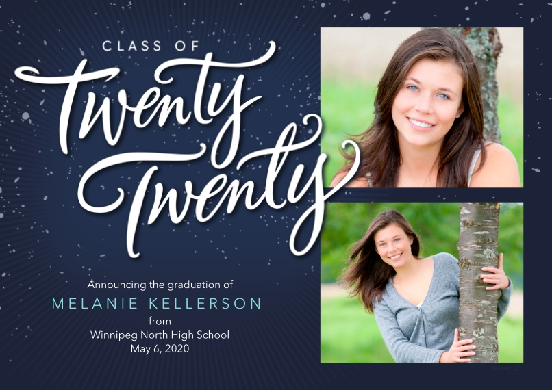 2020 Graduation Announcements Flat Matte Photo Paper Cards with Envelopes, 5x7, Card & Stationery -Class of Twenty Twenty Graduation Announcement by H