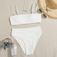 Solid High Waisted Bikini Swimsuit