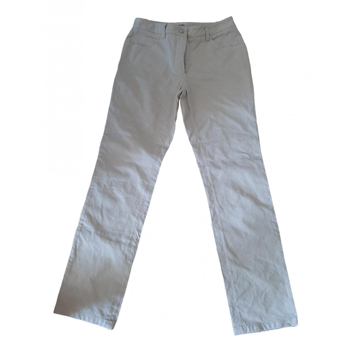 Chanel \N Beige Cotton Trousers for Women 38 FR