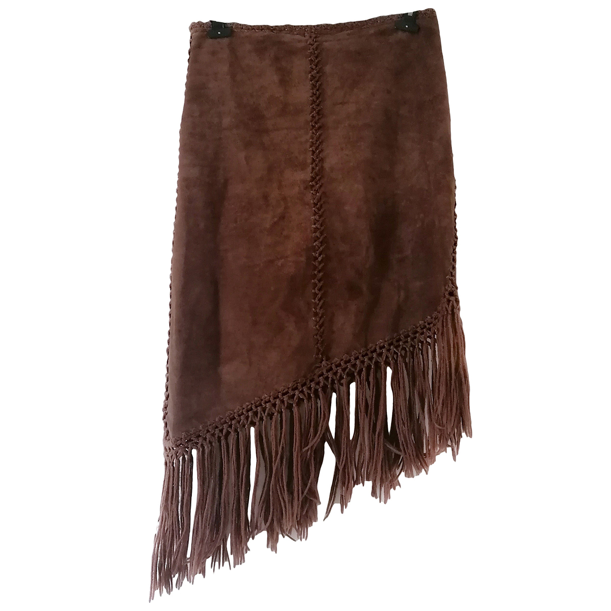 Non Signé / Unsigned N Brown Leather skirt for Women 48 IT