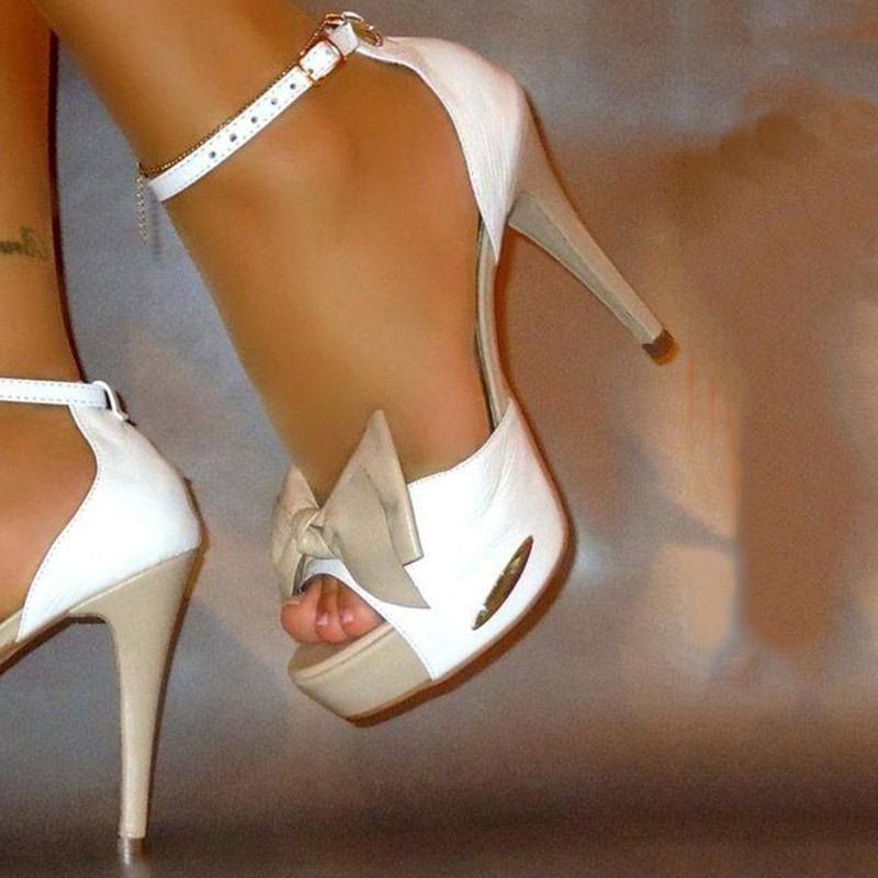 Ericdress Color Block Bowtie Stiletto Heel Sandals