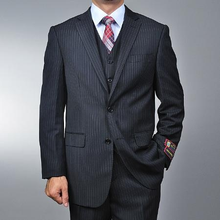 Mens Black Pinstripe 2button Vested Suit