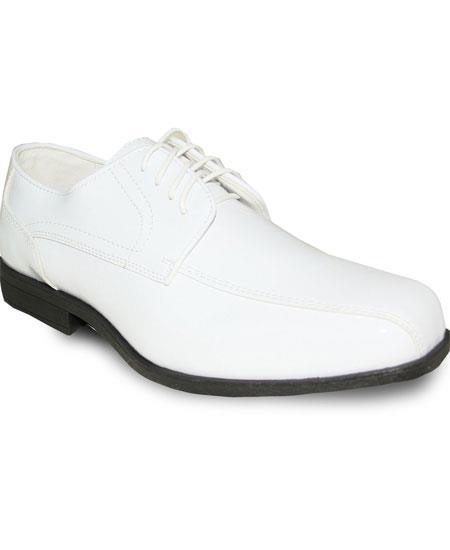 Men's Square Toe Oxford White Lace Up Tuxedo Dress Shoe