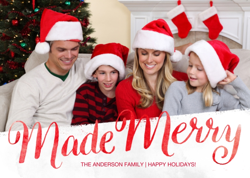 Holiday Photo Cards Flat Matte Photo Paper Cards with Envelopes, 5x7, Card & Stationery -Made Merry Watercolor Script