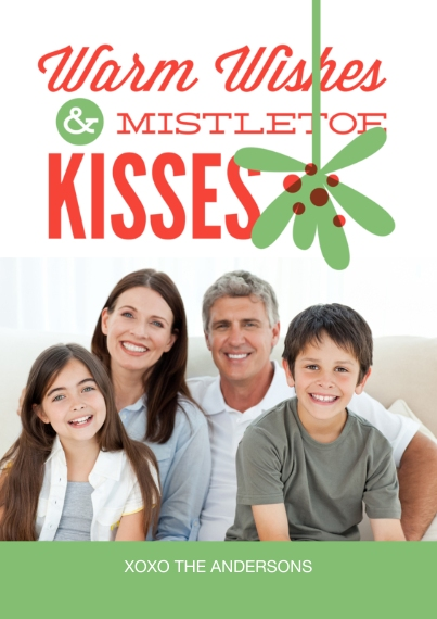 Christmas Photo Cards 5x7 Cards, Premium Cardstock 120lb with Scalloped Corners, Card & Stationery -Mistletoe Kisses