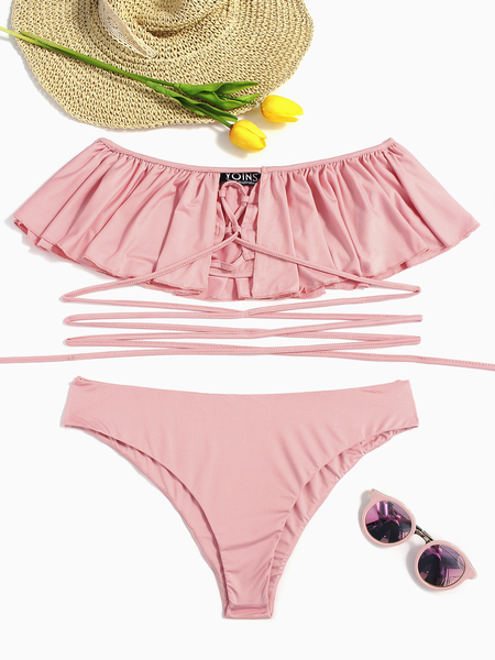 Yoins Pink Off-The-Shoulder Lace-up Bikinis
