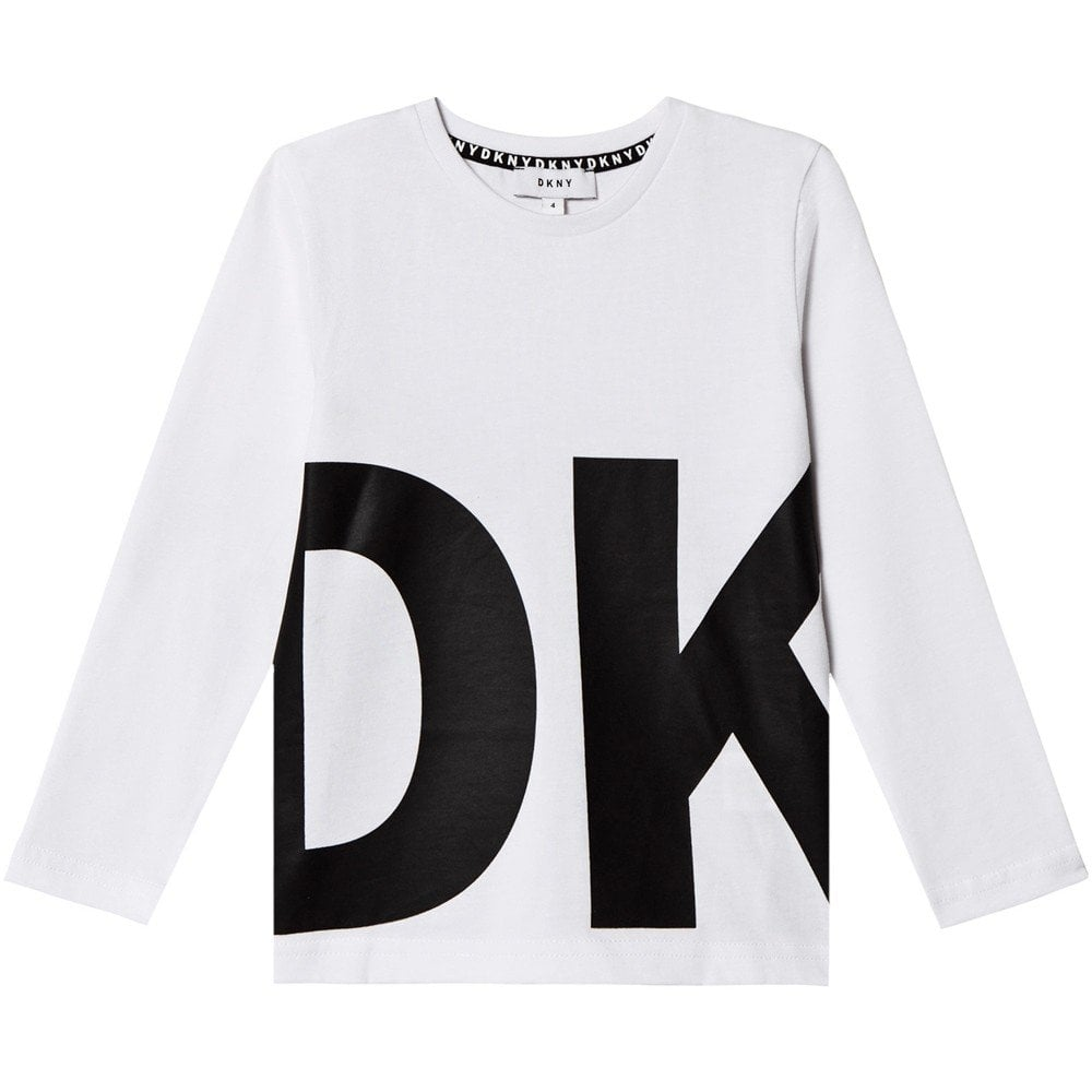DKNY Kids Logo Print Long Sleeve T-Shirt White  Colour: WHITE, Size: 1