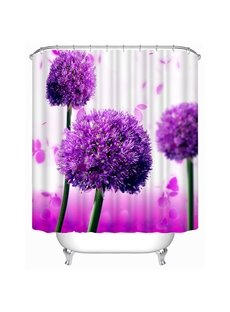 3D Purple Globe Amaranth Printed Polyester Shower Curtain