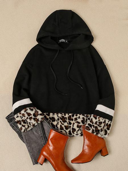 Yoins Color Block Black & Leopard Stripe Details Long Sleeves Hoodie