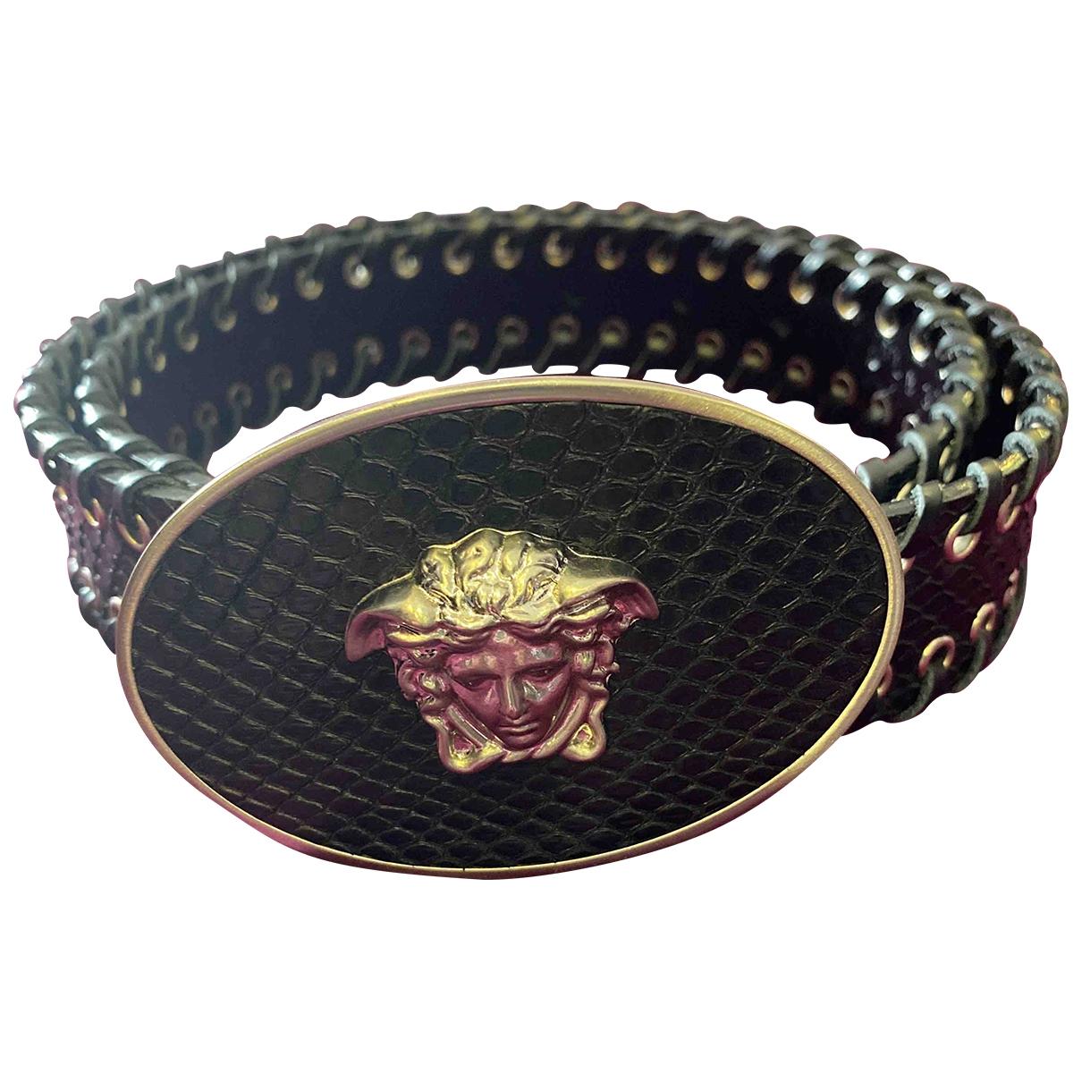 Gianni Versace \N Black Python belt for Women 80 cm