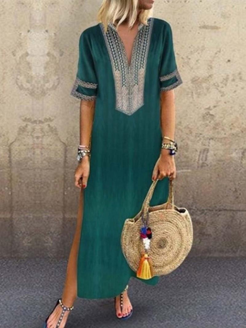 Ericdress Casual V-Neck Print Ankle-Length Split Dress