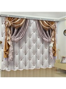 3D Imitated Elegant Shading Cloth Printed Water-proof and Dust-proof Custom Curtain for Living Room Bedroom