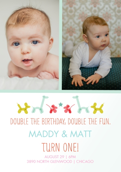1st Birthday Invitations 5x7 Cards, Premium Cardstock 120lb with Rounded Corners, Card & Stationery -Double 1st Birthday Animal Balloons