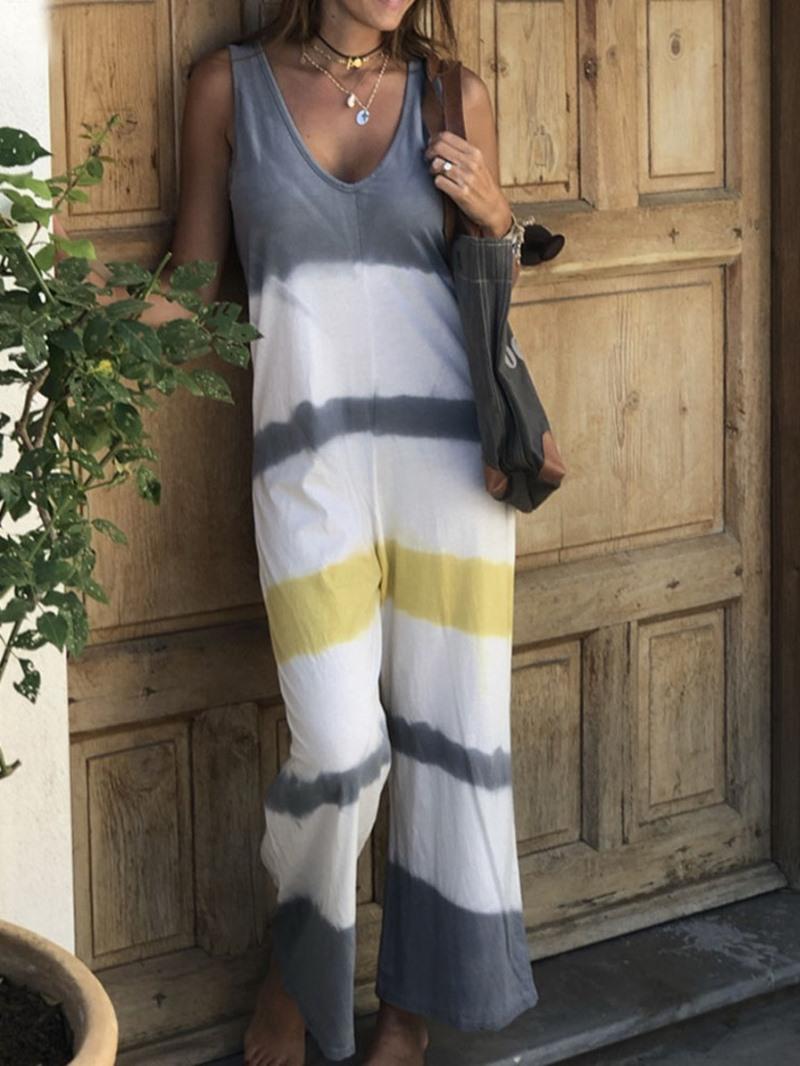 Ericdress Print Travel Look Color Block High Waist Loose Jumpsuit