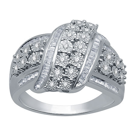 Womens 1/2 CT. T.W. Genuine Diamond Sterling Silver Cocktail Ring, 9 , No Color Family