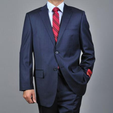 Mens Striped Navy Blue 2button Wool Suit