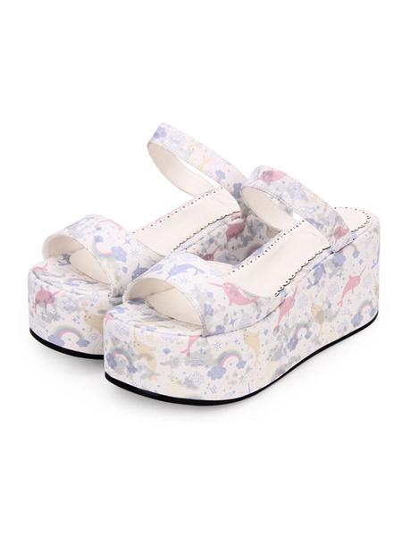 Milanoo Sweet Lolita Slides Print PU Wedge Heel Platform Lolita Sandals