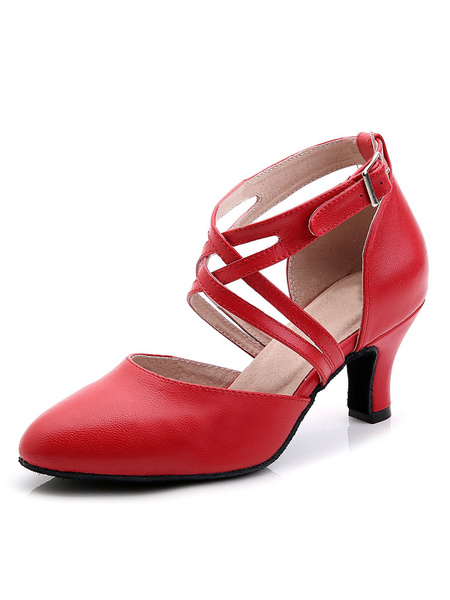 Milanoo Red Dance Shoes Women Ballroom Shoes Pointed Toe Criss Cross Buckle Detail Latin Dance Shoes