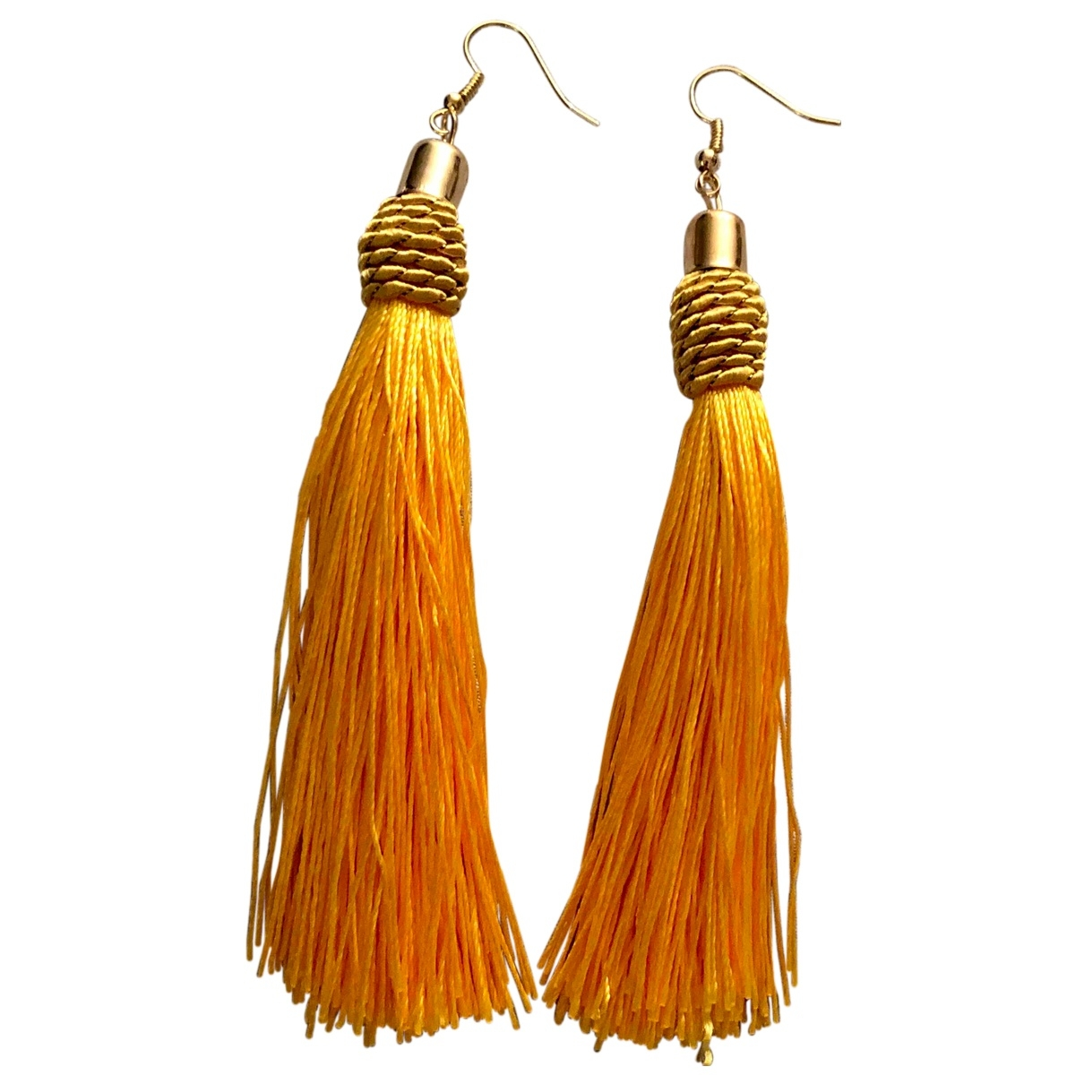 Non Signé / Unsigned Motifs Ethniques Gold Silk Earrings for Women \N