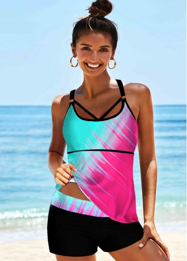Rosewe Women Rainbow Tie Dye Color Two Piece Tankini Swimsuit Multi Color Printed Spaghetti Strap Bathing Suit And Shorts - S