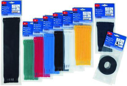 HellermannTyton Blue Hook & Loop Cable Tie, 200mm x 12.5 mm (10)