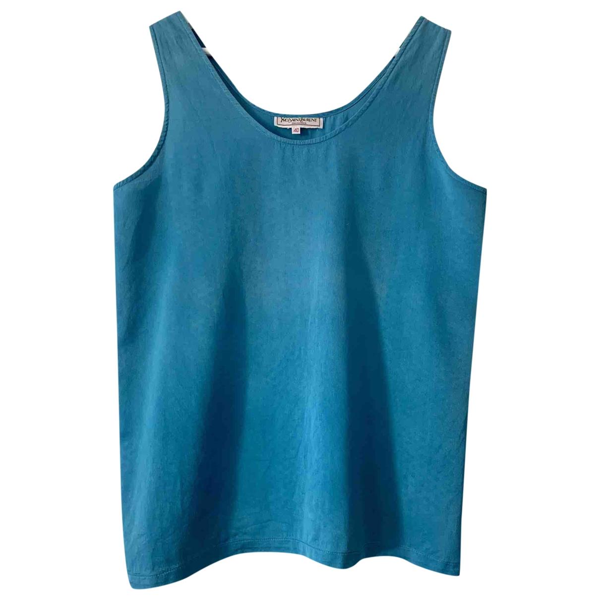 Yves Saint Laurent \N Blue Silk  top for Women 40 FR