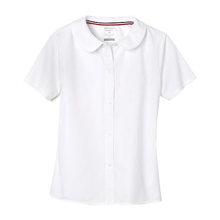 French Toast Little & Big Girls Short Sleeve Button-Down Shirt, 18 , White